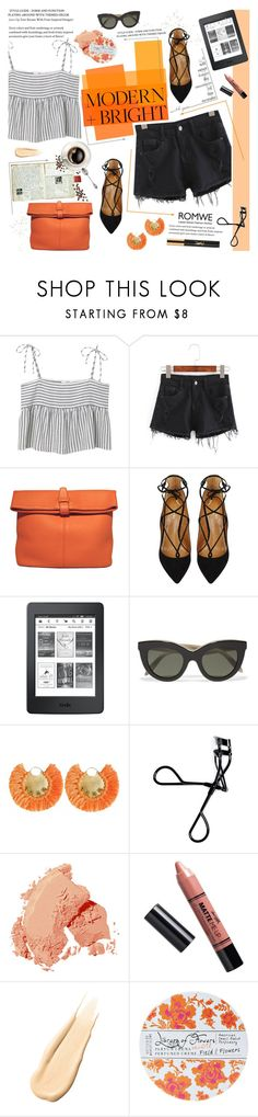"""Orange Pop"" by bklana ❤ liked on Polyvore featuring MANGO, Hermès, Aquazzura, Victoria Beckham, Ricardo Rodriguez, Bobbi Brown Cosmetics, Barry M, Hourglass Cosmetics, Library of Flowers and Yves Saint Laurent"