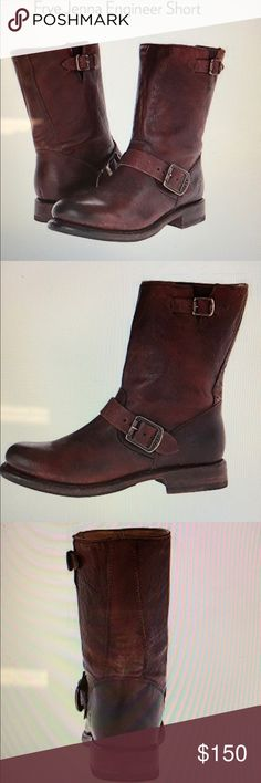 """Frye Jenna Engineer Short Boot Awesome boot that has only been worn a couple of times. These rugged style boots will make any outfit come to life. Very comfortable boot. Size 8 and color is """"dark brown stone antique."""" Frye Shoes"""