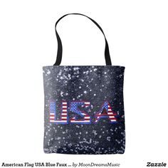 #AmericanFlag #USA #BlueFauxGlitter #ToteBag by #MoonDreamsDesigns #PatrioticStyle #4thOfJuly #MemorialDay #LaborDay