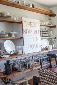 """DIY """"There's No Place Like Home"""" Pallet Art   Dining Room Open Shelving by The Wood Grain Cottage"""