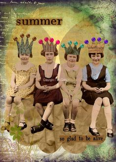 Summer, Original collage  for you to print and hang, vintage, collage, art, whimsy, romance, steam punk, fairies, friends, sisters, love.. $5.00, via Etsy.