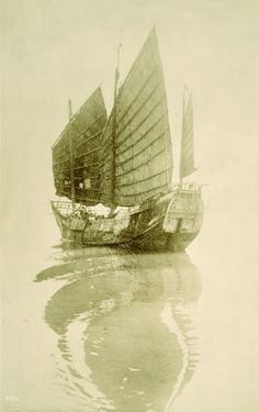 A Japanese junk sails on the Pacific Ocean.