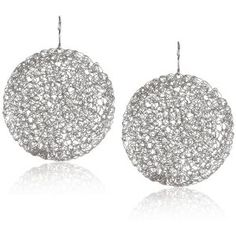 Marcia Moran Rhodium Round Large Crochet Circle Earrings