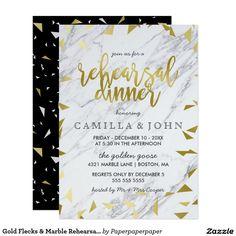 Gold Flecks & Marble Rehearsal Dinner Invitation