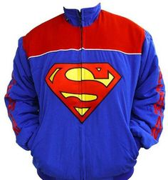 Superman Embroidered Racing Jacket Blue and Red  Can someone get me this for Christmas