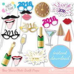 NEW YEARS EVE Photo booth Props  Instant por UponATimeDesigns