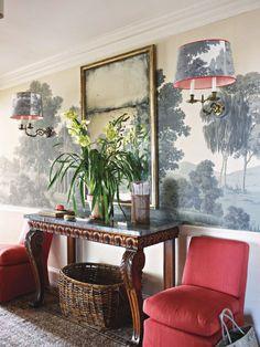 De Gournay chinoiserie wallpaper mural foyer entry custom scone shade scenic Tom Scheerer