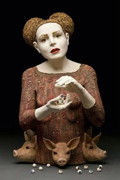 Ceramic sculpture. Great use of detail in clothing and also hair which expresses identity and time period. Body language is shocked and also is very evident through facial features and especially through eyes and also lips.