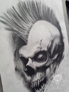 mohawk skull by AndreySkull on DeviantArt Evil Skull Tattoo, Punk Tattoo, Skull Tattoos, Sleeve Tattoos, Tatoos, Corvo Tattoo, Airbrush Skull, Skull Reference, Skull Sketch