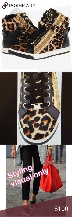 Michael Kors Cheetah Sneaker Adorable cheetah print sneakers, calf hair. Laces up with a zipper at the sides and an adjustable studded strap. Gold hardware. Size 6.5 in women's, worn once. Michael Kors Shoes Sneakers