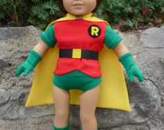 Items similar to Robin, Superhero, Super Hero, outfit or costume for American Girl Doll on Etsy American Girl Doll Costumes, American Boy Doll, Girl Costumes, Costume Ideas, Halloween Costumes, Super Hero Outfits, Super Hero Costumes, Boy Outfits, Robin Superhero