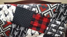 Woodland Patchwork Blanket Black Buck Red by DesignsbyChristyS