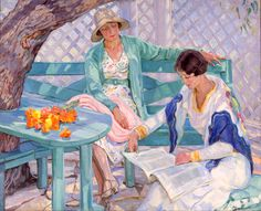 In the Summer House Hilda Rix Nicholas (Australian, Oil on canvas. Rix Nicholas returned to Australia in 1919 with the conviction 'to paint things typical. Reading Art, Girl Reading, Reading Books, People Reading, Art Gallery, Harlem Renaissance, Australian Artists, French Art, Newcastle