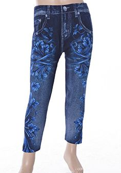 L4U Girls Faux Floral Denim Printed Fashion Leggings. Available in two sizes: S/M, and L/XL.