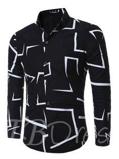 f3d5cd913d Lapel Print Single-Breasted Men s Long Sleeve Shirt Stylish Shirts