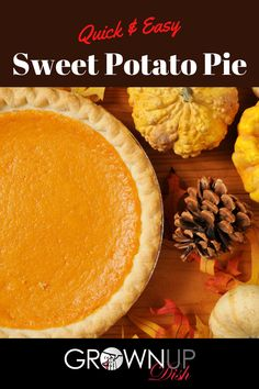 Sweet potato pie is a mix of a creamy custard filling perfumed with classic fall spices. It's easy to make & the perfect addition to your holiday spread.  #grownupdishrecipe #sweetpotatopie #sweetpotatopierecipe #pierecipe #easypierecipe #southernfood #comfortfood #sugarfreepie #sugarfreepierecipe #thanksgivingrecipe #christmasbaking #holidaybaking Easy Pie Recipes, Fall Recipes, Real Food Recipes, Baking Recipes, Dessert Recipes, Sugar Free Pie Recipe, Sugar Free Recipes, Canning Sweet Potatoes, Custard Filling