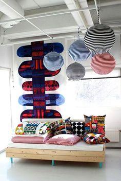 Yesterday at Marimekko Interior Architecture, Interior And Exterior, Modern Daybed, Marimekko Fabric, Fabric Display, Interior Decorating, Interior Design, Scandinavian Design, Decoration