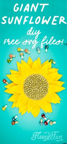 This Giant Paper Sunflower DIY (FREE SVG files) is perfect for fall! Make a Giant flower wall or use it to decorate your space! So many possibilities! #decor #party #DIYproject #crafting #nosew