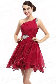 Romantic A-Line One Shoulder Short-Mini Red Chiffon Cocktail Dress A Line Cocktail Dress, Cocktail Dresses, Red Chiffon, Affordable Wedding Dresses, Special Occasion Dresses, Homecoming Dresses, Dresses Online, Party Dress, Fashion Looks