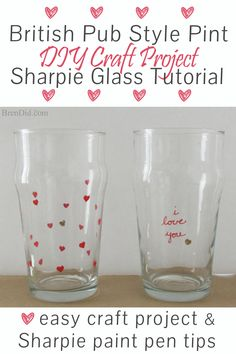 DIY Craft Project: Sharpie Marker Pint Glass Tutorial - Custom stamped English style beer pint glasses for only $1.25 each. Plus a DIY mini eraser stamp tutorial! Uses oil based Sharpie paint pens that are baked on.   http://brendid.com/diy-craft-project-sharpie-pint-glass-tutorial/