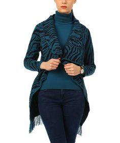 Look at this #zulilyfind! Dark Blue & Black Animal Fringe-Trim Wrap Cardigan #zulilyfinds