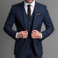 The Men's suit style the model is wearing is Formal Contemporary Suit Slim Fit 3 piece suit (Jacket, Vest & Trousers) Single Breasted  Notch Lapel 2 buttons Blu - $0