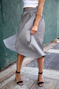 gingham skirt & strappy sandals