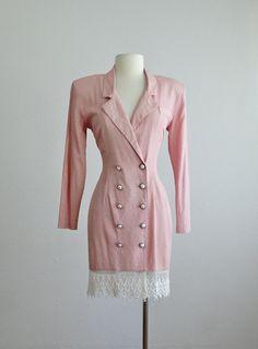 80s pink blazer dress 1980s vintage pale pink dress lace