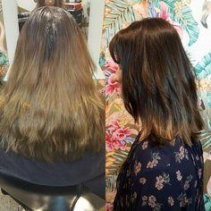 Fab #beforeandafter shot - deepened roots, block panel work and subtle freehand lightening. Soft layered haircut & loose undone waves.  @wellapro @cloudninehair   #theradicalhairdesign #hairbynataleedavenport