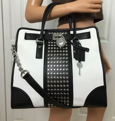 Michael Kors Hamilton Center Stripe Studded Large Leather Tote Purse Black White Shoulder Bag Purses Black, White, and Silver Boutique Michael Kors, Outlet Michael Kors, Sac Michael Kors, Handbags Michael Kors, Michael Kors Hamilton, Mk Handbags, Designer Handbags, Summer Handbags, Stylish Handbags