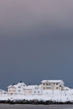 Winter in the Lofoten Islands of northern Norway.