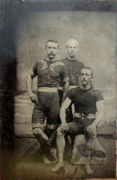 ca. 1870-90's, [tintype portrait of three acrobats, or circus performers, in costume]