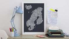 Bold and Noble typographic map of Northern Europe.