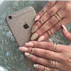 Peach + Gold Coffin Nails #nail #nailart