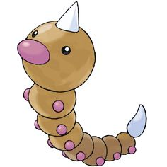 Weedle - 013 - Often found in forests and grasslands. It has a sharp, toxic barb of around two inches on top of its head. Its poison stinger is very powerful. Its bright-colored body is intended to warn off its enemies.  @PokeMasters.net