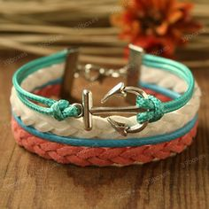 by (39boxes) Anchor Bracelet - multi colored anchor bracelet for girlfriend and girls. unique bracelet for BFF, 39boxes, Bracelet, Metal, Bracelets, Birthday+gift, Girls+bracelet, Girls+gift, Anchor+bracelet, Girlfriend+gift, Unique+gift, Turquoise, Coral, White, Green, Fabulous+gift, Cheap+gift,