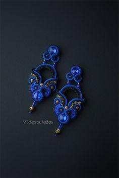 Handmade soutache earrings by Mildossutazas on Etsy Tatting Jewelry, Boho Jewelry, Beaded Jewelry, Jewelery, Women Jewelry, Soutache Pendant, Soutache Necklace, Bead Earrings, Soutache Pattern