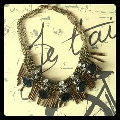 Midnight blue textured stoned fringe necklace Stunning statement piece with metal fringe details, silver crystal clusters, and beautiful midnight blue stones! Defnitely a show stopper!!! LOFT Jewelry Necklaces
