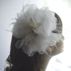 Bird Cage Veil Beach Wedding Headpiece White by handcraftusa