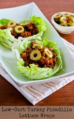 Low-Carb Turkey Picadillo Lettuce Wraps are delicious and just spicy enough to be interesting, and this delicious recipe is also gluten-free, dairy-free, South Beach Diet friendly, and it can easily be Paleo with the right ingredient choices.  [found on KalynsKitchen.com]