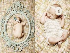 i love the frame for an infant portrait! wooo my cousin is prego. I'm sending her this.