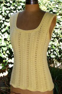 A very easy and pretty pattern that knits up quickly. As a summer top or vest. Add or subtract 14 sts to change bust size.