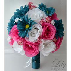 Artificial Silk Flower Wedding Bridal Bouquets Teal/White/Fuchsia