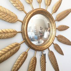 Alice Lane Home Collection   Gold feather mirror