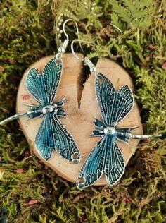 Chętnie udostępniam ten artykuł z mojego sklepu #etsy: Blue dragonfly shaped dangle earrings, Original earrings, Butterfly , Dragonfly jewelry, Gift for women, Gift for girl