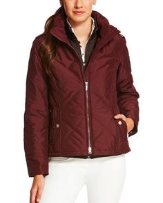 Ariat Women S Maroon Diamond Quilted Collared Jacket