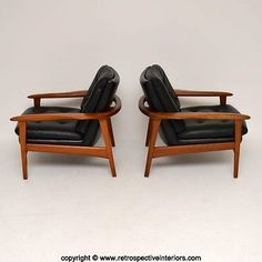 PAIR-OF-DANISH-TEAK-amp-LEATHER-RETRO-ARMCHAIRS-VINTAGE-1960-039-s