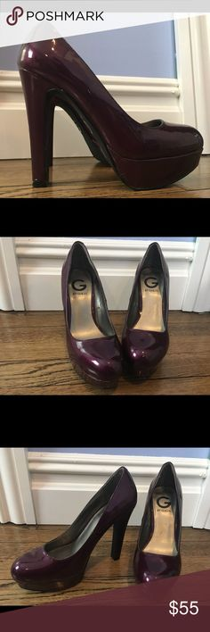 G by Guess plum patent leather platform heels Worn once, excellent condition. G by Guess plum patent leather platform heels. Size 7 1/2.  4 1/2 inch heel with 1 inch platform. Sexy, stylish… The perfect pop of color for any outfit! G by Guess Shoes Platforms