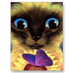 Siamese Cat Painting With Butterfly - Multi Post Cards by JUDERM
