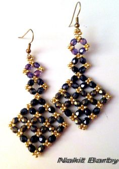 Beaded earrings made with czech beads by NakitBarby on Etsy, $20.00